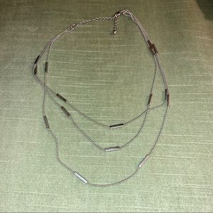 Silver Tone Multichain Station Necklace